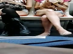 2 girls with real short shorts some heel popping