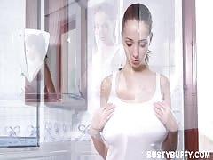 Busty Buffy takes hot milky bath with foam