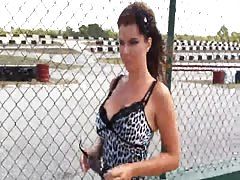 warm brunette stunner with large titties deep throats manhood in public save