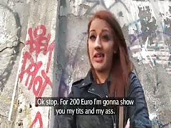 Elegant coed with red hair is being payed for an outdoor sex