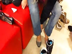 Hot public foot fetish with my lovely lass in her black shoes