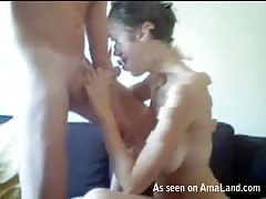 Short-haired funny babe jerks and sucks his hard prick