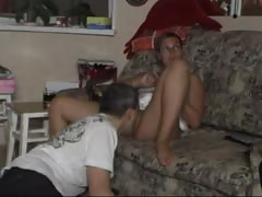 Clothed tanned milf wife is really enjoying cunnilingus