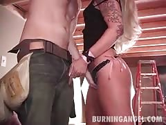 Kissing, blowjob and ball licking on hot sex with blonde emo babe
