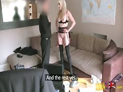 Blonde milf staying on her knees and sucking interviewer's dick