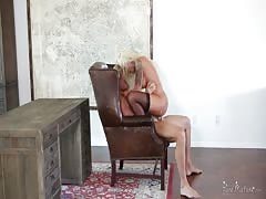 voluptuous  blondy is jerking his tough monster in the bedroom