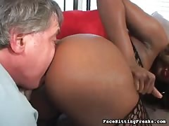 Lustful glamour ebony having nasty fun with her slave