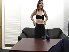 Beauty with the natural big tits is enjoying her first casting
