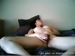Small-tit young trump penetrates her little hairy hole on cam