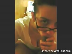 Beauty gf in glasses is trying to suck big black cock like a pornstar