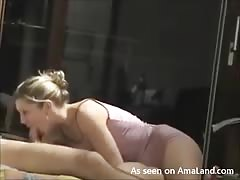 Filling out her wide-opened mouth right before banging