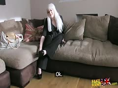 Awesome BBW blonde is showing off her puss for Fake Agent UK