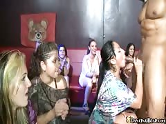 Cute girls blowing Dancing Bear and sharing his tasty sperm