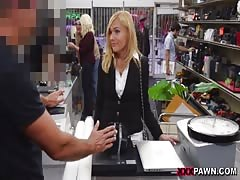 Blonde chick is the best sucking employee ever