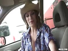 Cock-addicted cowgirl sucking driver's dick with pleasure