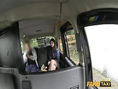 Gorgeous brunette is blowing hard dick in the video by Fake Taxi