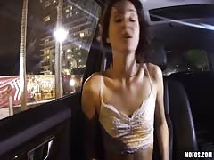 Picked up young slut being fucked by horny driver at the backseat
