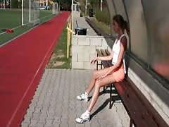 lean tall French sporty lady wanking