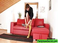 Nylon pantyhose girlfriends humping through nylon panty-hose