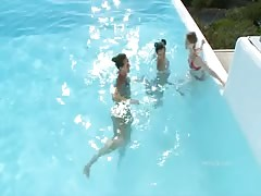 Private pool party with hot young cum hungry chicks