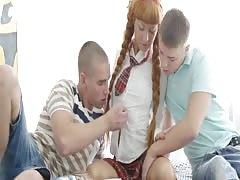 LustHD Braided redhead European schoolgirl teen in 3 way