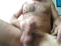 hairy uncut daddy jerking off