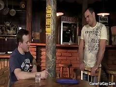 Hetero bartender riding first gay cock