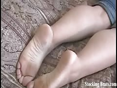 Stocking worshiping lesbians Becky and Chelsea
