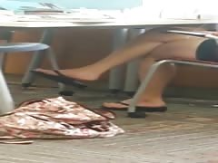 Candid Asian Library Black Flip Flops Feet Legs Pt 2