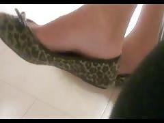 Candid finnish girl shoeplay in ballerinas flats