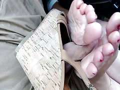 Footjob in car