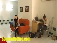 Czech lesbians doing striptease at the casting