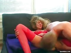 Wild granny shows her sucking skills