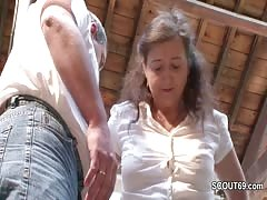 German Mature in Stockings Seduce to Fuck by Stranger