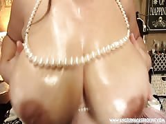 large Titted Angelina Casto pummels labia With PEARLS!