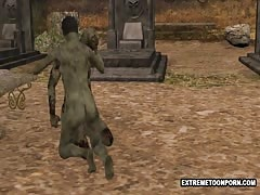 3D Zombie Gets banged tough in a Graveyard