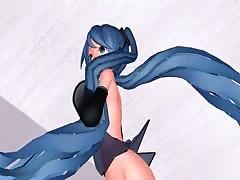 MMD Blue Hair Babe Pierced Tits Sex Toys Anal Squirt GV00186