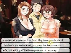 Hentai sex game threesome with 2 busty girls