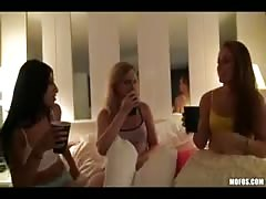 Hot young teen sluts have a girl's night out gang-bang orgy party