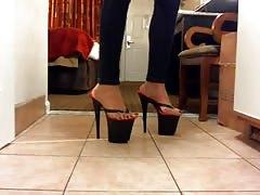 black thong heel