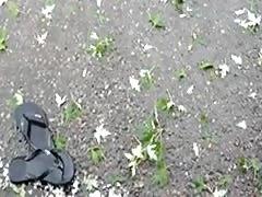 lonly flip flop in the rain