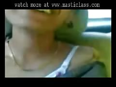 Cute South Indian Aunty Show her MILKY Boobs to her BF in CAR