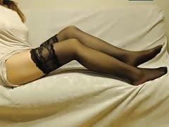 Foot fetish,stockings girl with Polish webcams