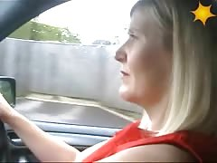 Wife Driving Car Flashes Her Stockings