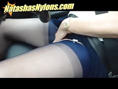 UK Motorway Driving Flashing My Big Tits And Blue Silk Stockings