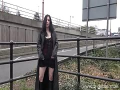 Gothic exhibitionist Fayth Corbin flashes and masturbates in public
