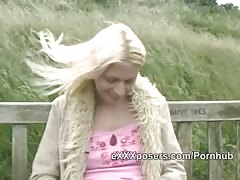 Fit British blonde lady flashes pink knickers and boobs outside