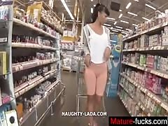 Cameltoe and flashing in the supermarket - mature-fucks