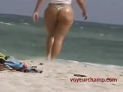 MILF Angelica Flashes Pussy To Guys @ The Topless Beach While Husband Films