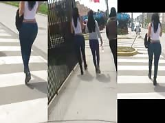 La chilena caderona en jeans Candid